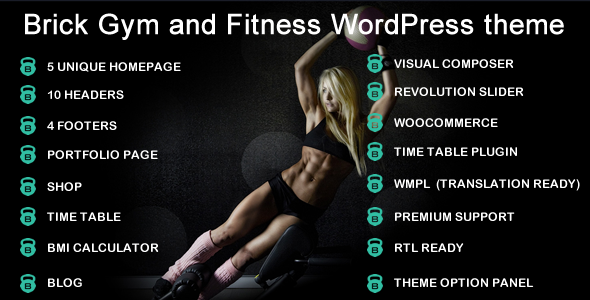 Brick Gym & Fitness Multipurpose WordPress Theme