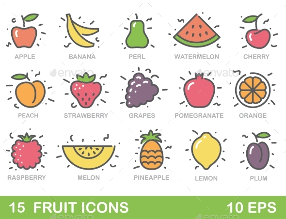 Stylized Illustrations of Fruit - Food Objects