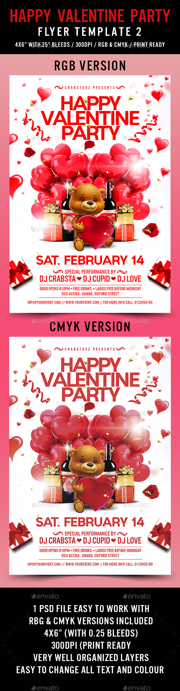 Happy Valentine Party Flyer Template 2 - Flyers Print Templates