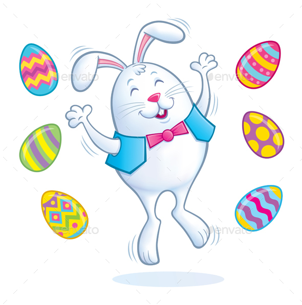 Easter Bunny Jumping for Joy - Miscellaneous Seasons/Holidays