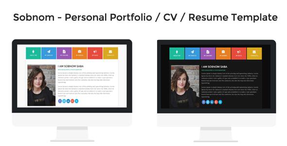Sobnom – Personal Portfolio / CV / Resume Template