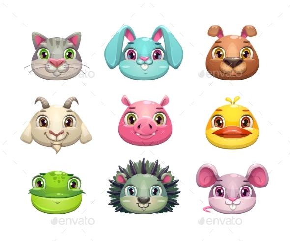 Cartoon Animal Face Icons Set - Animals Characters