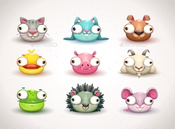 Crazy Animals Faces Icons Set - Animals Characters