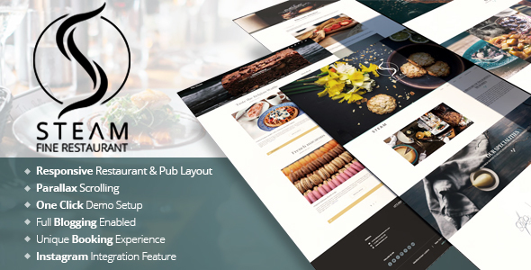 The Steam – Restaurant, Pub & Cafe WordPress Template