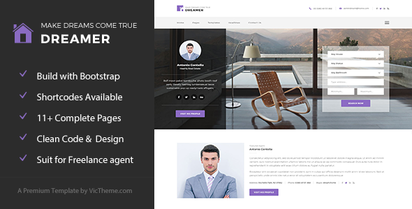 Dreamer – Freelance Property Agent HTML Template