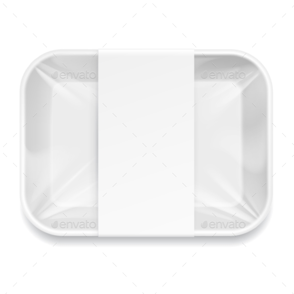 White Styrofoam Food Tray Pack - Retail Commercial / Shopping