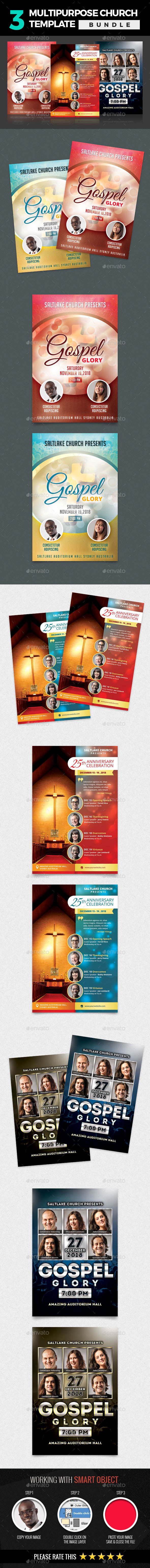 3 In 1 Multipurpose Church  Template Bundle - Church Flyers