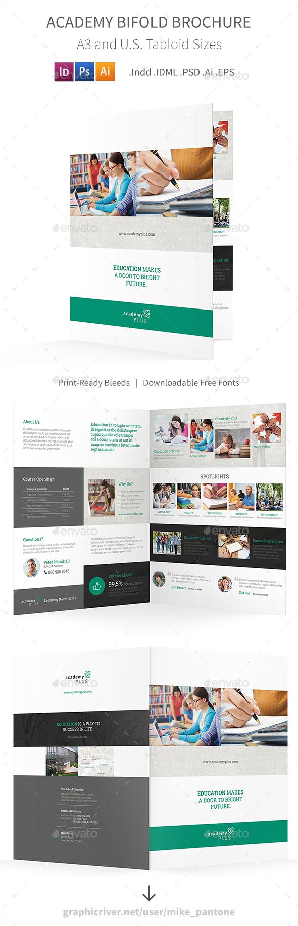 Academy Bifold / Halffold Brochure - Informational Brochures