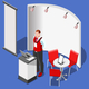 3D Exhibition Booth Stand People Isometric Vector Illustration - GraphicRiver Item for Sale