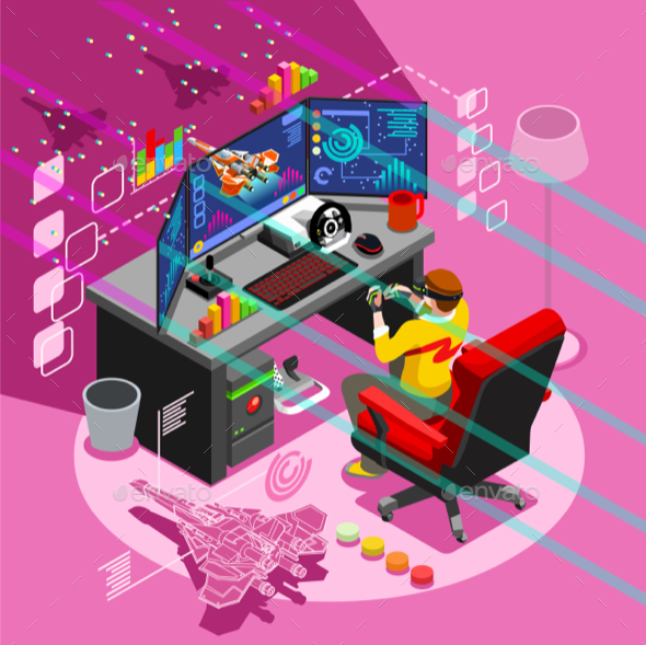 Android Video Game Icon Isometric People Vector Illustration - Computers Technology