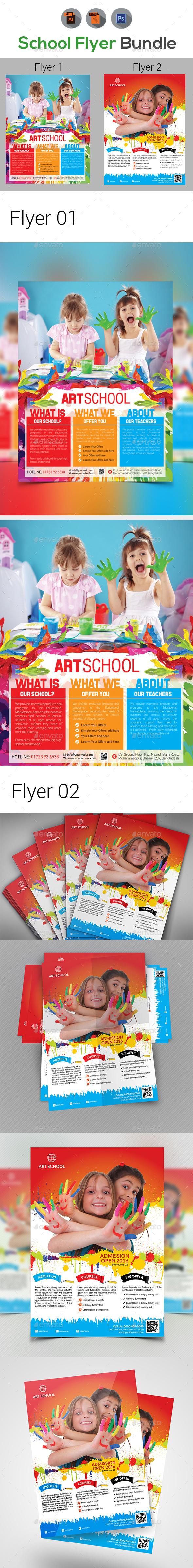 Kids Arts School Flyers Template - Flyers Print Templates