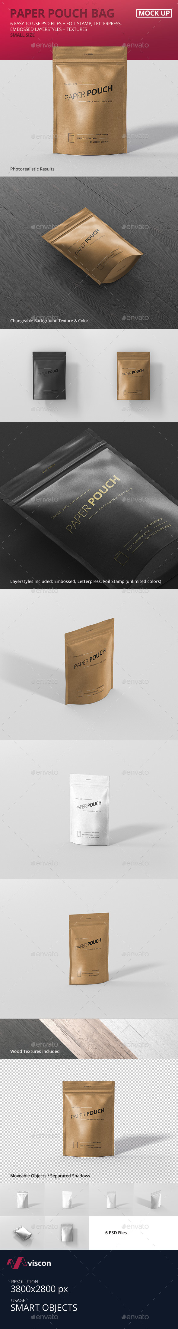 Paper Pouch Bag Mockup Small Size - Food and Drink Packaging