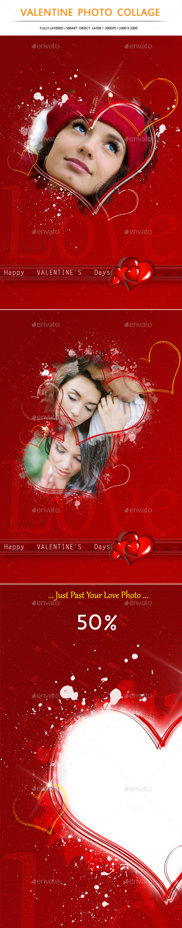 Valentine Photo Collage - Photo Templates Graphics