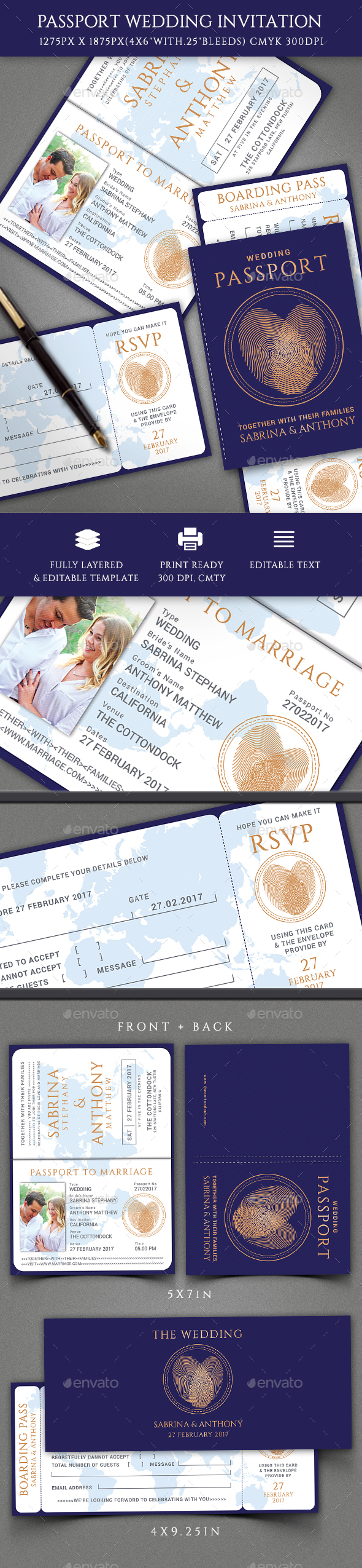 Passport Wedding Invitation - Invitations Cards & Invites