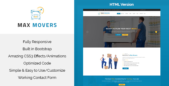 Max Movers – Transport & Movers HTML Template