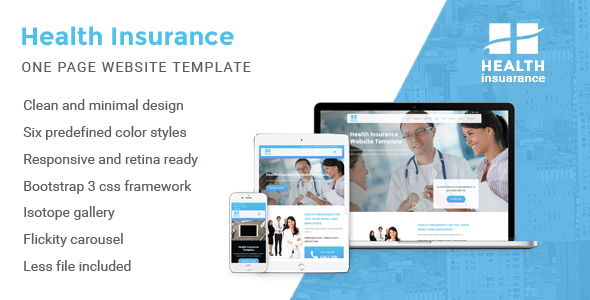 Health Insurance – One Page Website Template