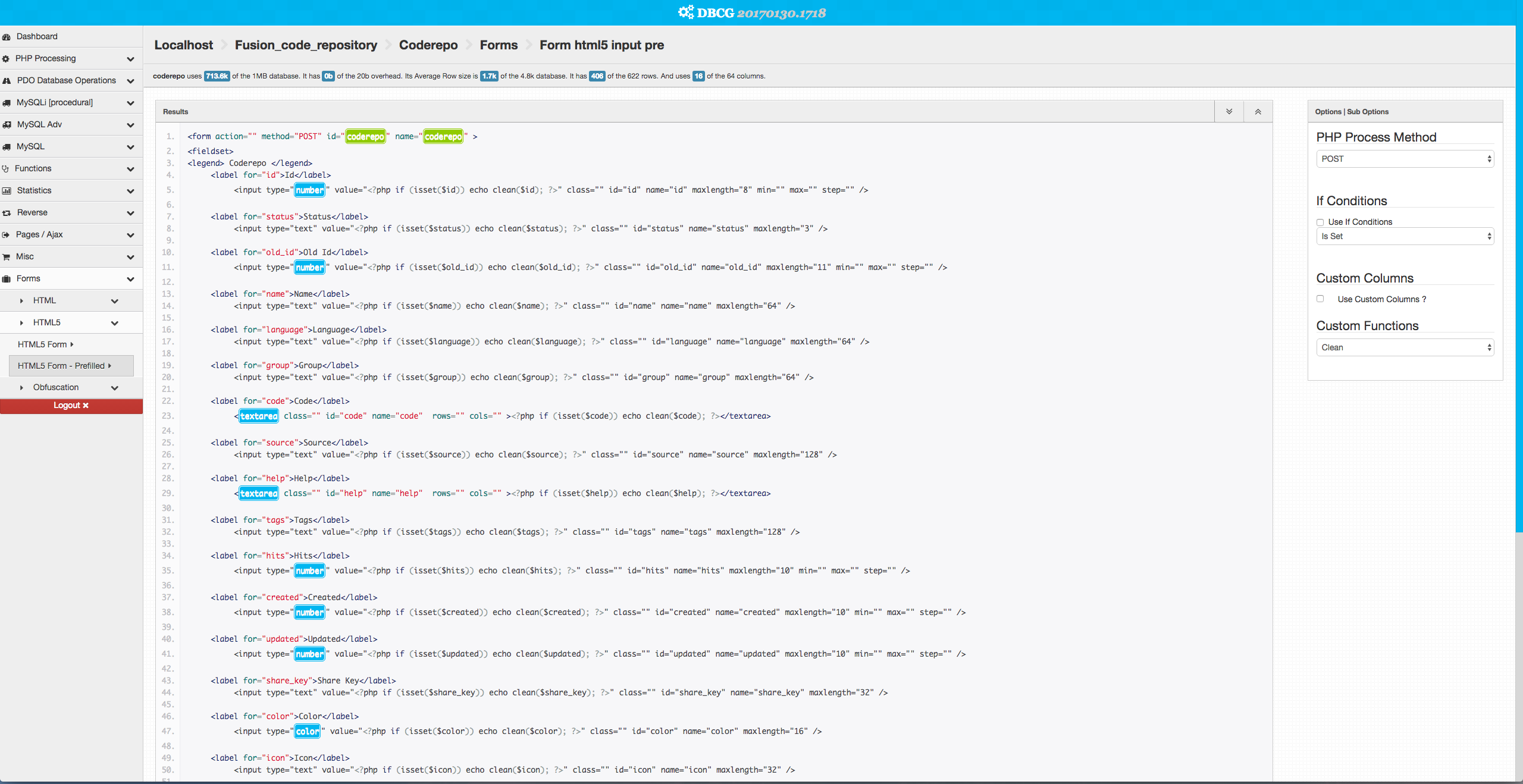 Database Code Generator
