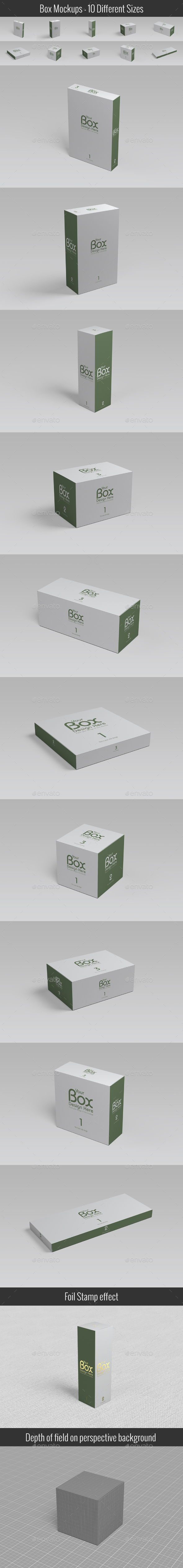 Package Box Mockups- 10 Different Sizes