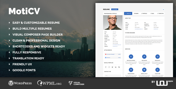 Moticv – vCard & Resume Builder WordPress Theme