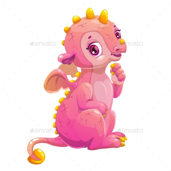 Little Cute Cartoon Sitting Pink Dragon. - Monsters Characters