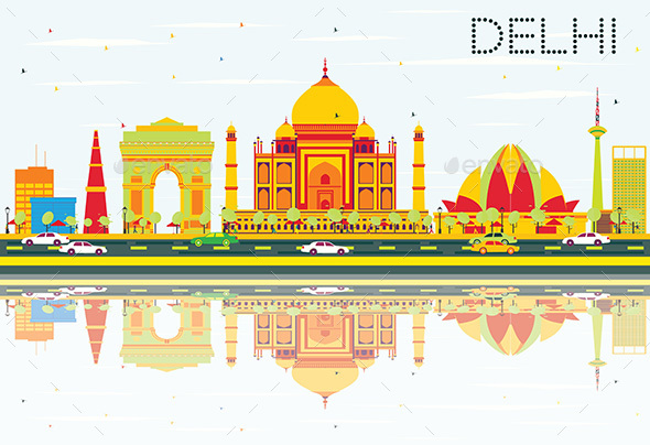 Delhi Skyline with Color Buildings - Buildings Objects