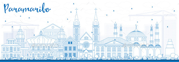 Outline Paramaribo Skyline with Blue Buildings. - Buildings Objects