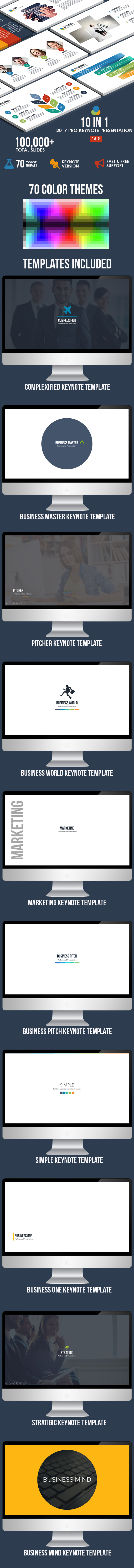 10 IN 1 - 2017 Pro Keynote Bundle - Business Keynote Templates