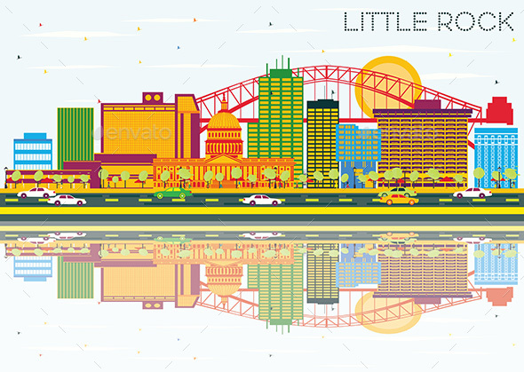 Little Rock Skyline with Color Buildings - Buildings Objects