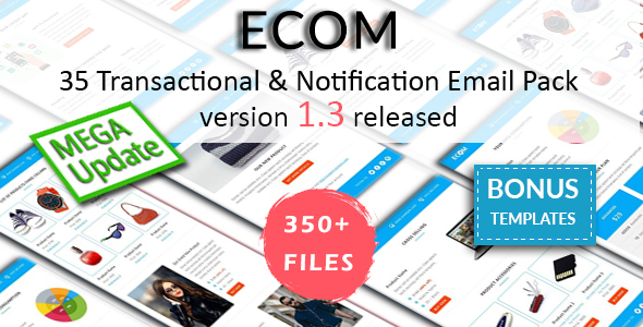 ECOM - 35 Unique Transactional and Notification Email Templates with Three Layouts