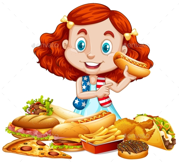 American Girl and American Food - People Characters