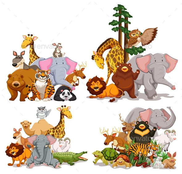 Group of Different Types of Animals - Animals Characters