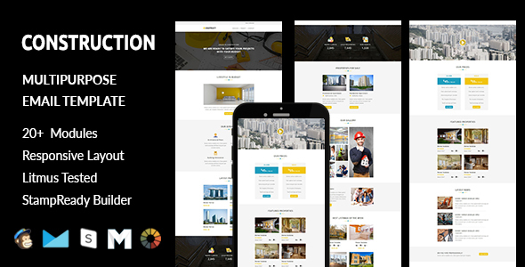 CONSTRUCTION – Responsive Email Template with Stampready Builder Access