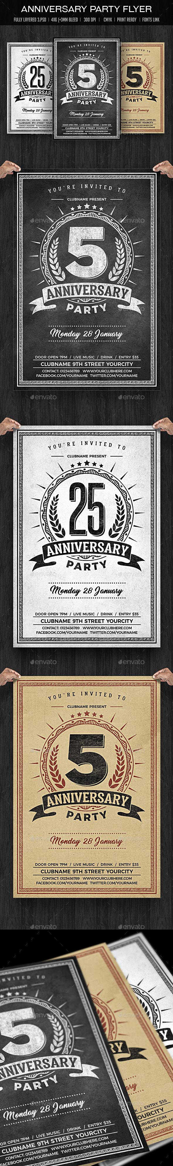 Anniversary Party Chalk Flyer - Clubs & Parties Events
