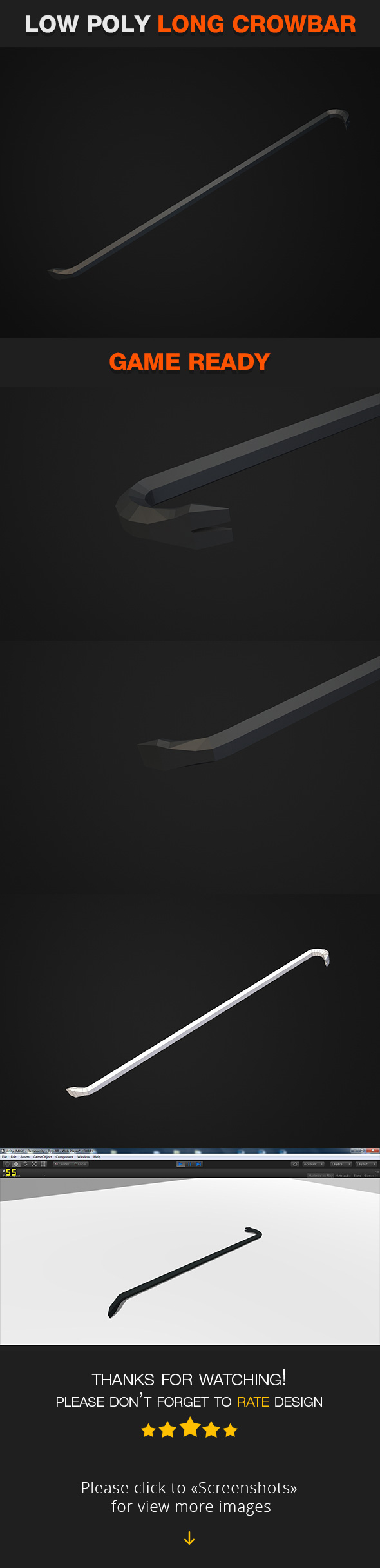 Low Poly Long Crowbar - 3DOcean Item for Sale