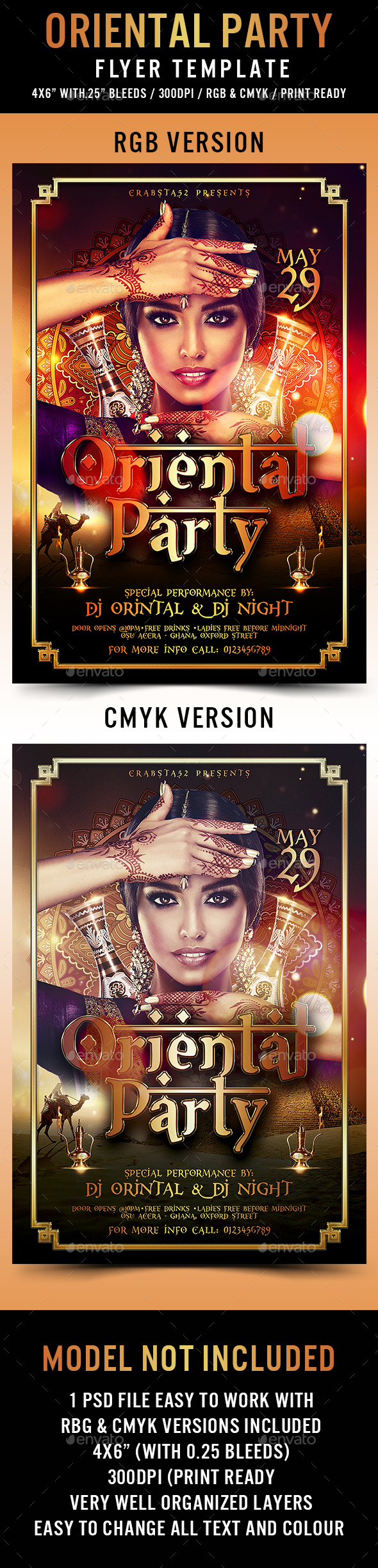 Oriental Party Flyer Template - Flyers Print Templates