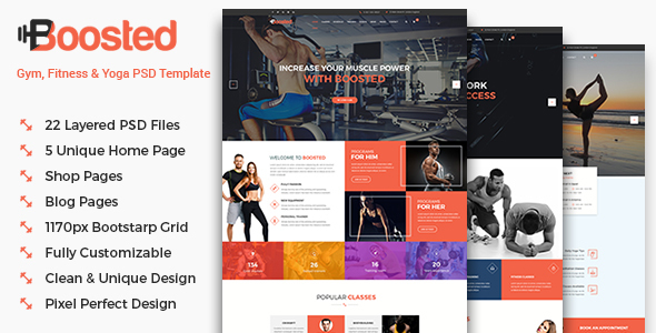 Boosted – Gym, Fitness & Yoga PSD Template