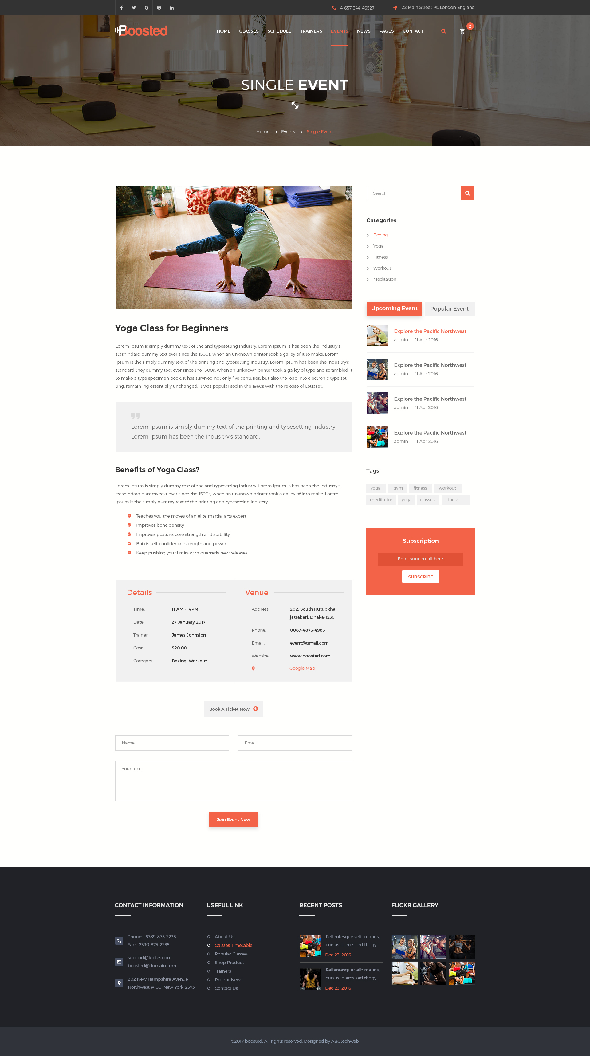 Boosted Gym Fitness Yoga Psd Template By Abctechweb Themeforest