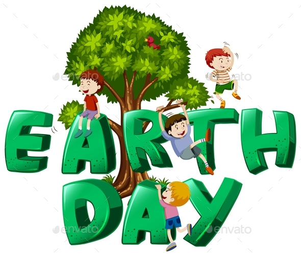 Font Design with Word Earth Day - People Characters