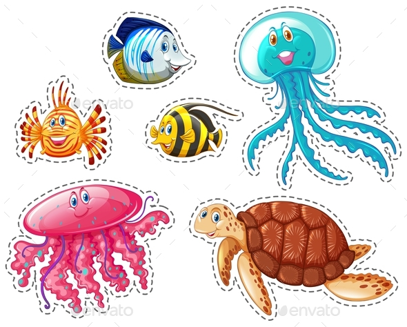 Sticker Set of Sea Animals - Animals Characters