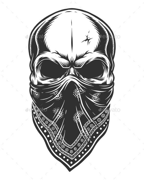 How to draw a skull with a bandana