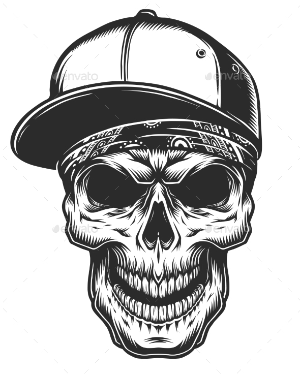 Illustration of Skull in Bandana and Baseball Cap - Tattoos Vectors