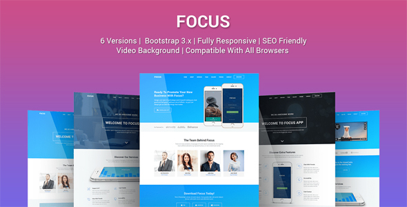 Focus - Multi Purpose App Landing Page Template - Apps Technology