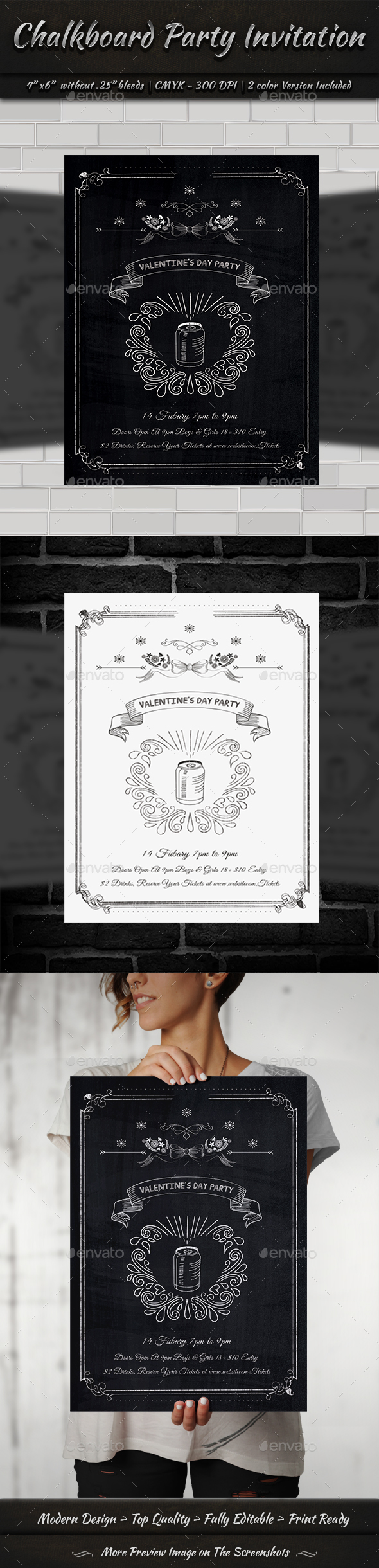 Chalkboard Party Invitation - Clubs & Parties Events