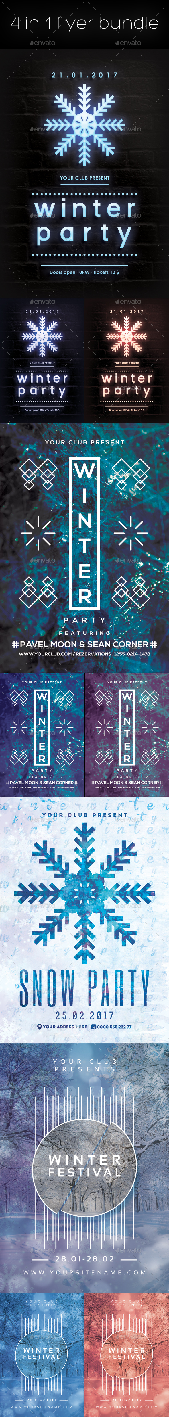 Winter Flyers Posters Bundle - Clubs & Parties Events