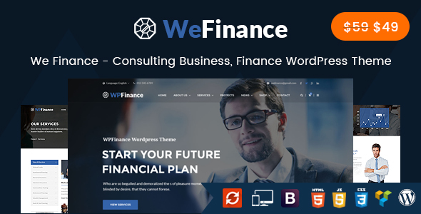 We Finance - Consulting Business, Finance WordPress Theme - Business Corporate