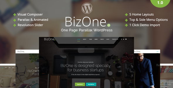 BizOne – One Page WordPress