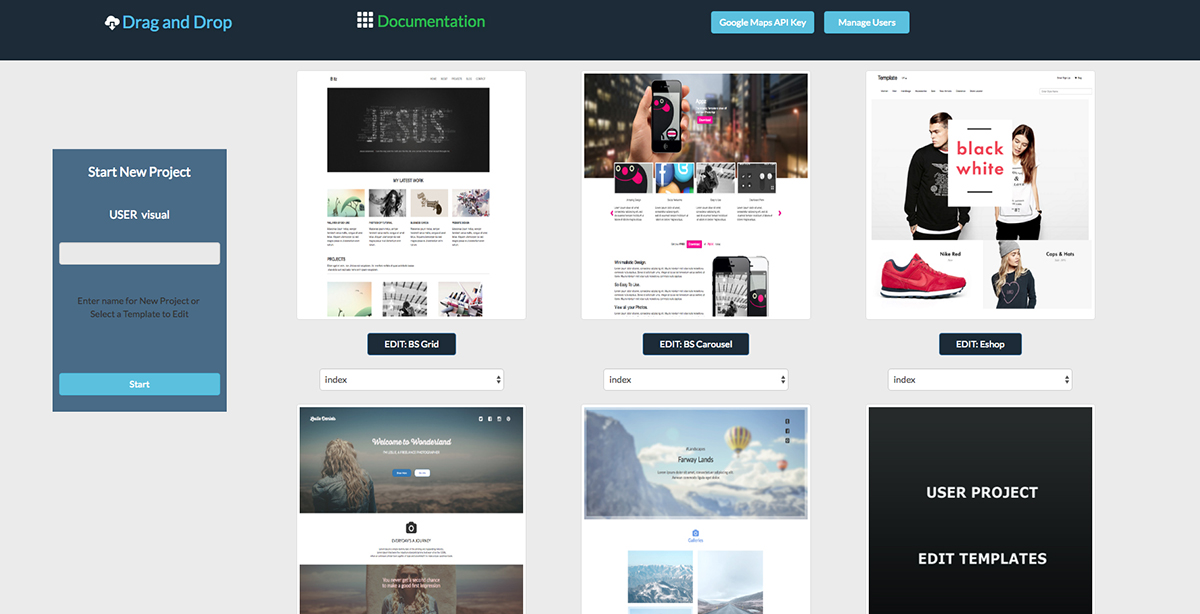 visual drag and drop bootstrap html templates creator by web zone