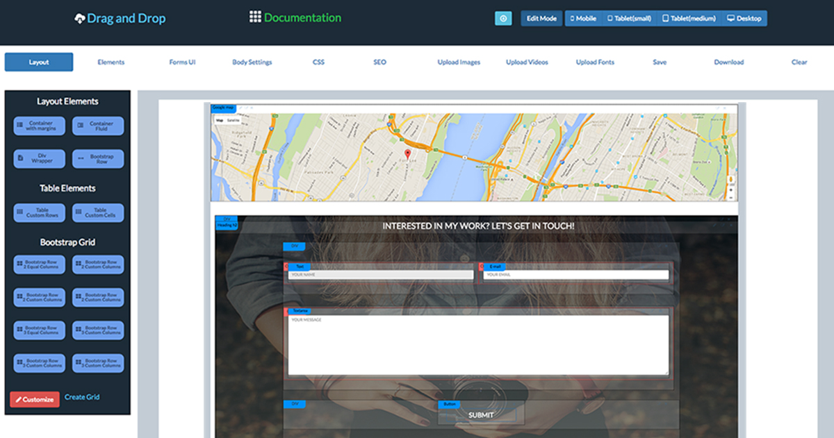 Visual Drag and Drop Bootstrap HTML Templates Creator