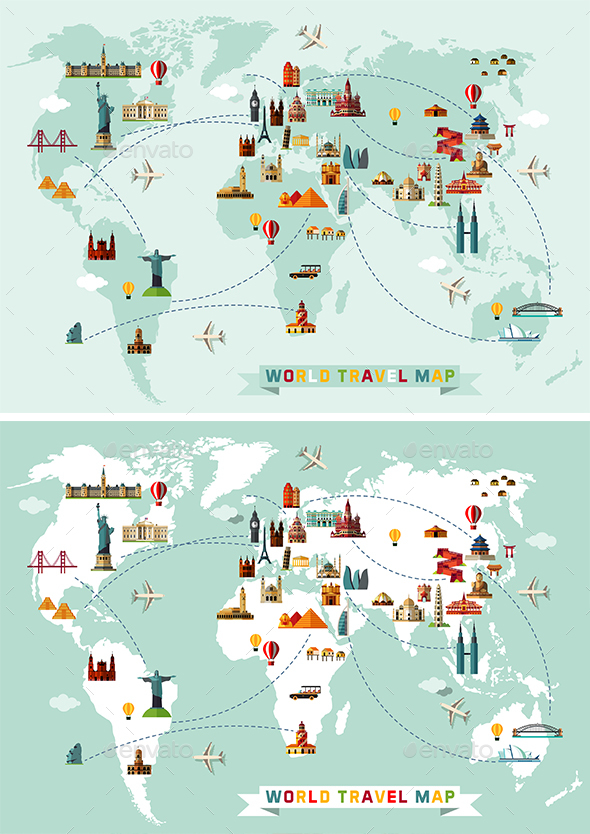 Map of the World and Travel Icons - Travel Conceptual