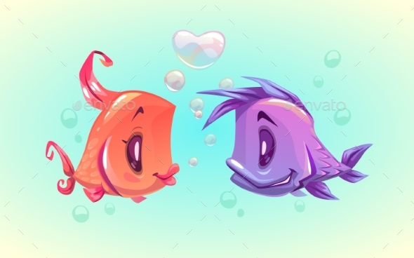 Cartoon Funny Fish Characters Couple - Animals Characters
